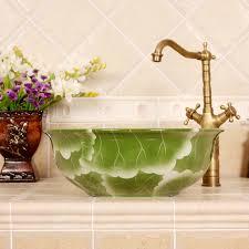 RYXW565 Flower design bathroom ceramic Chinese wash basin ...