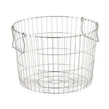 Round Silver Wire Storage Basket