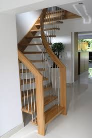 Upmarket Fake Wooden Handle Modern Staircase With Wooden Step Foot Stairs  In Open Floor Plans Interior Decorating Ideas