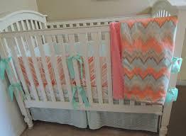 c mint chevron baby bedding set