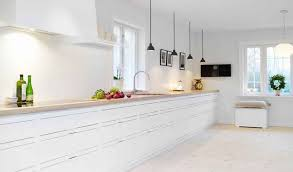 White On White Kitchen White On White Kitchen White Kitchen Wood Island Via Decorpad