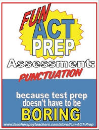 Fun Act English Punctuation Assessment Apostrophes Commas And
