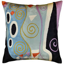 klimt cushion cover marine hand embroidered wool  x