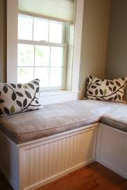 bedroom window seat cushions.  Bedroom Custom Window Seat And Upholstered Cushions For Master Bedroom Intended