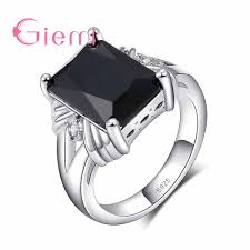 Square Shape Ring Design Us 2 2 82 Off High Quality Black Square Shape Design Cubic Zirconia Finger Rings Fine 925 Sterling Silver For Women Man Festival Gift In Rings From