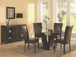 dining room table leather chairs elegant round transpa glass top dining table and curvy dark brown
