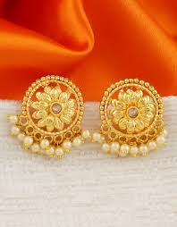 Gold New Design Tops Floral Design Gold Finish Ear Tops For Girls