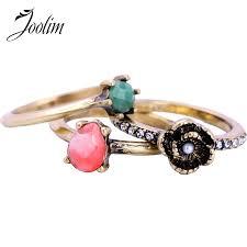 <b>JOOLIM Jewelry</b> Wholesale/Romantic Flower Trio <b>Ring</b> Stack able ...