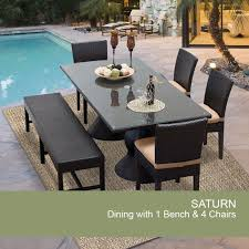 Saturn rectangular outdoor patio dining table with 4 chairs and 1 bench design furnishings