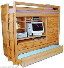 bunk bed paper patterns loft all in1 w trundle desk chest closet easy diy plans