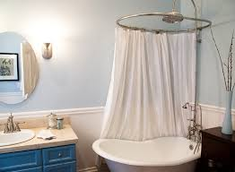 good looking round shower curtain rod in bathroom eclectic with tub to shower conversion next to small master bath alongside whirlpool tub shower