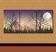 wall decor combined paintings moon night theme free vector 5 01mb