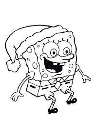 Kerstmuts Spongebob Kleurplaat Spongebob