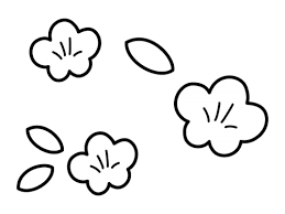 桃の花の白黒イラスト02 かわいい無料の白黒イラスト モノぽっと