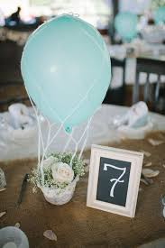 Hot air balloon centerpieces and party decorations.