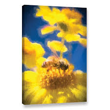 honey bee mountain daisy study 3 painting print on wrapped canvas