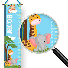 Baby Jungle Animals Kids Personalized Height Growth Chart