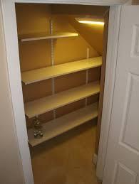 stair shelves inside stair closet