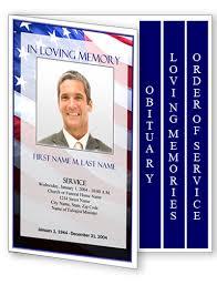 4 Page Graduated Patriotic Us Funeral Program Template