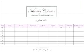 Wedding Guest List Template Excel Download Wedding Invite List Template