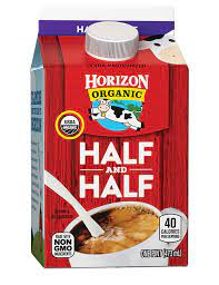 To start with a simple cup of brewed coffee with nothing added has approximately two calories and no fat. Horizon Organic Half Half