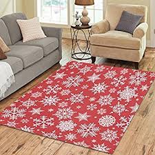 interestprint home decoration christmas red white snowflake area rug cover 7u0027 x 5u0027 feet christmas area rugs i98