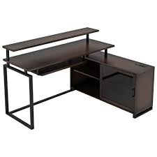 balken transitional l shaped desk with keyboard tray espresso only