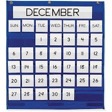 Classroom Calendar Pocket Chart Pacon Pac20200 Monthly Calendar Pocket Chart 1 Each Blue