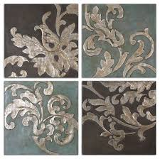 >damask relief blocks wall art 4 piece set traditional paintings  damask relief blocks wall art 4 piece set