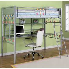 Bedroom: Interesting Metal Bunk Bed Design For Girls With Computer Desk  Underneath And White Rolling