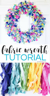 a fabric rag wreath is a fun way to add some color and texture to your