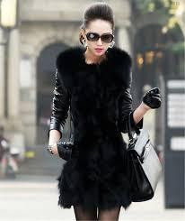 2018 in stock new womens long faux fox fur winter coat leather sleeve warm outerwear jacket slim black fur coat wt133 from convoy 36 18 dhgate com