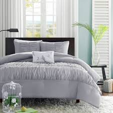solid grey teen girl bedding elegant ruched comforter or duvet cover set twin xl full queen king