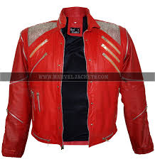 mj mens michael jackson beat it thriller king of pop red leather jacket