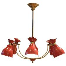 mid century french design red metal diffusers chandelier pendant