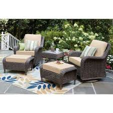 cambridge grey wicker swivel outdoor rocking chair with cushions