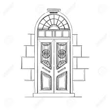 hand drawn vector ilrations old vine door isolated on white background stock vector