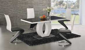 modern dining room table and chairs. GA Angel Black Glass White Gloss 160 Cm Designer Dining Set 4 6 Z Swish Chairs Modern Room Table And