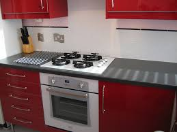 comfortable red high gloss kitchen cabinet inspiration with mosaic tiles backsplash