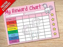Unicorn Reward Chart Girls Potty School Sticker Star Chart