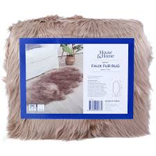 hosue home faux fur rug brown