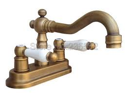 2 hole deck mounted 4 centerset bathroom faucet antique brass swivel faucets dual handle wash basin mixer sink tap lnf326 in basin faucets from home