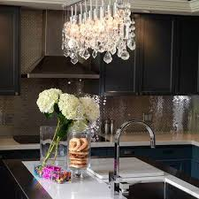 stainless steel backsplash view full size contemporary kitchen features linear crystal chandelier