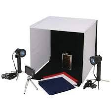 small studio lighting. small portable photo cube studio carrying case tripod 4 backdrops 2 lights pics lighting w