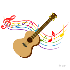 Guitar and Colorful Note Music Clipart Free PNG Image|Illustoon