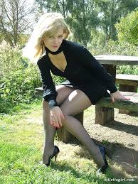 Stiletto Girl Beautiful Laura Is Outside And Showing Off Her Nylon.