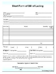 Short Form Bill Of Lading Template Freight Form New Bill Lading Template Blank Straight Example