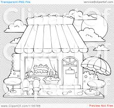 Clipart Outlined Cake Or Candy Shop With Outdoor Seating Royalty Sweet Shop Coloring Page