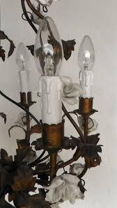 5 arm italian ceramic white rose vintage chandelier