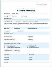 Minutes Of The Meeting Template Word Meeting Minutes Sample Format Pg 1 Of Example Committee